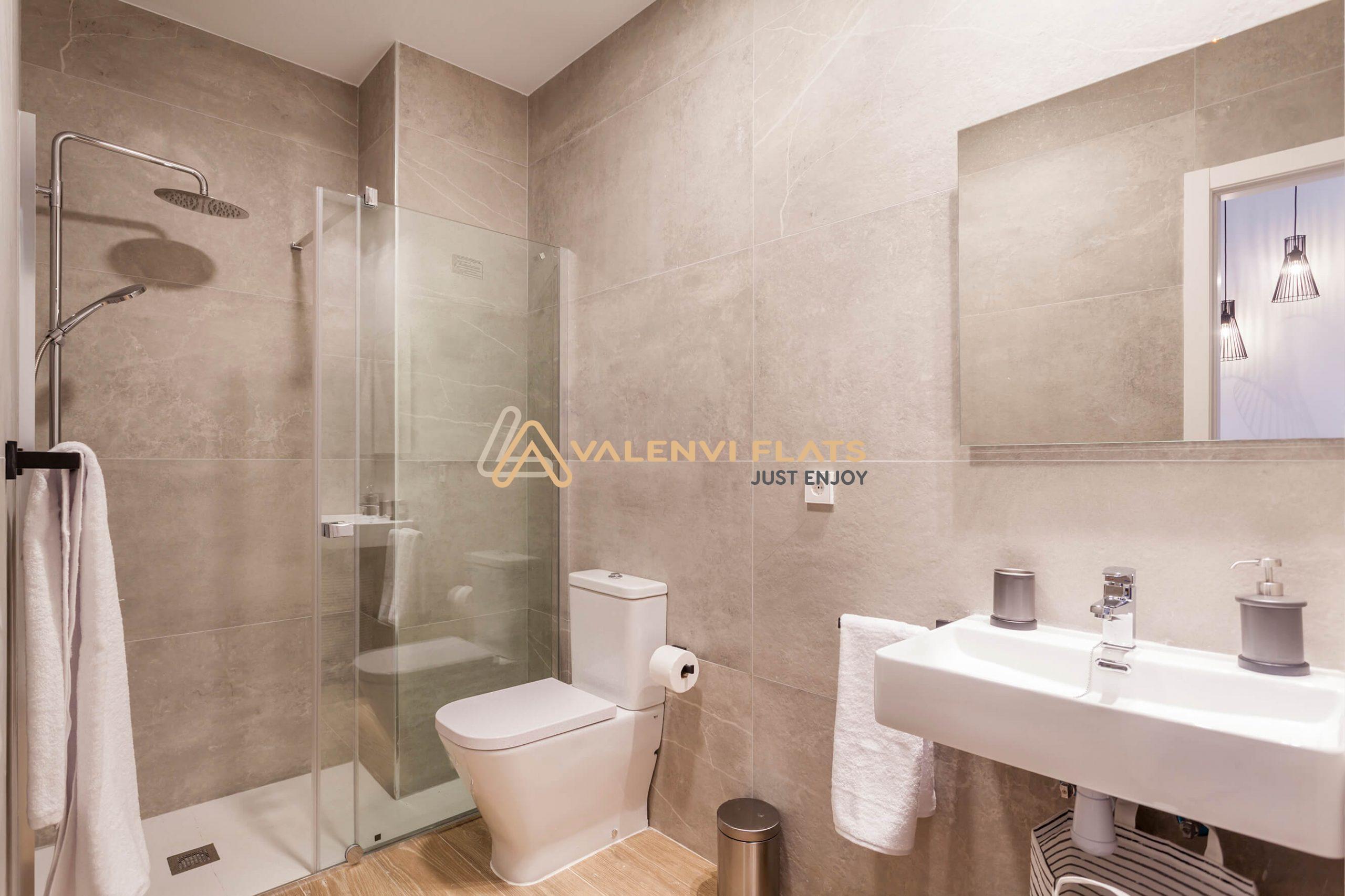 Baño estudio individual con plato de ducha y mampara, wc, toallas y pila con espejo